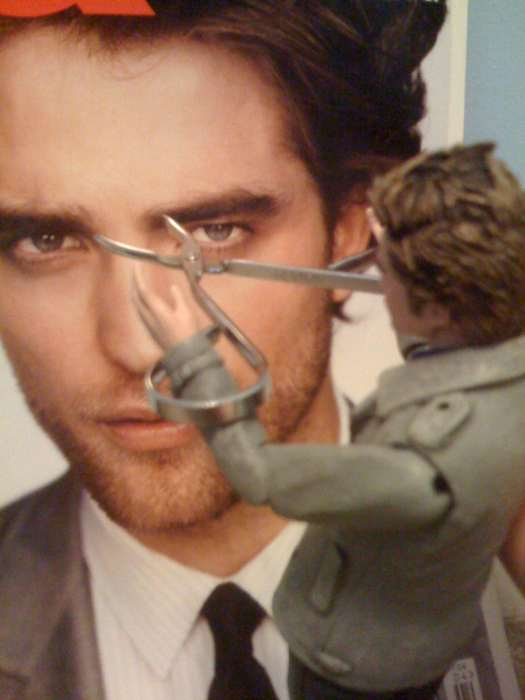 My Own Personal Edward uses tweezers on Robert Pattinson
